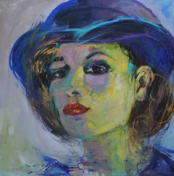 Vrouw met blauwe hoed 100x100