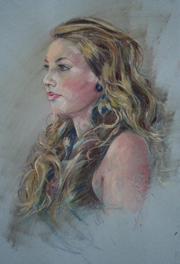 'Meisje 18jr,' Pastel 50x65 cm