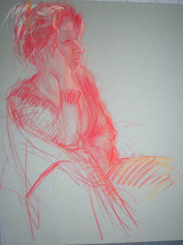 """""""Vrouw in rood krijt' 2014 50x65 cm"""