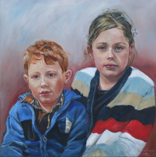 'Anique & Christian' 2014 Olieverf 50x50 cm
