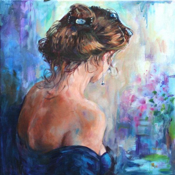 'Vrouw in blauw interieur' 50x50