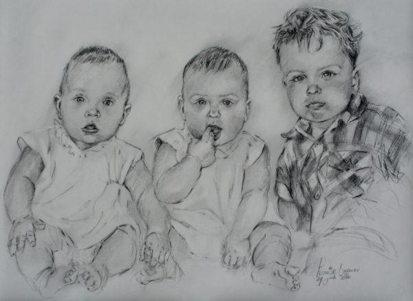 Kinderen in Siberisch krijt 65x50 cm