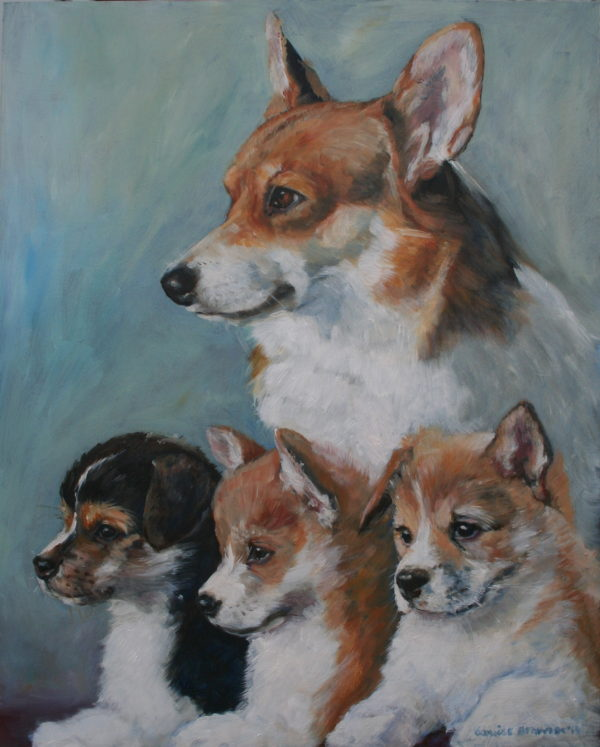 'Chip met pups' 2014 olieverf 40x50 cm