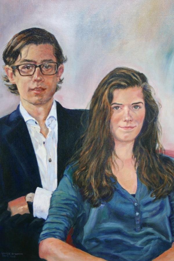 'Titiaan & Claudia 2015 Olieverf 50x70 cm