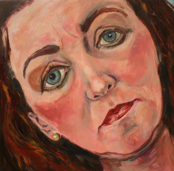 'Zelfportret Ogen neus mond' Acryl 84x84 cm