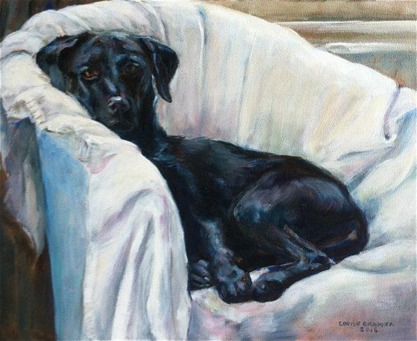"""Labrador"" olieverf 20x30 cm"