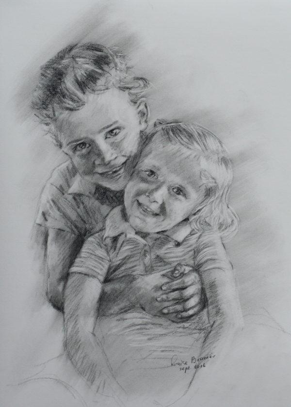 Twee kinderen 50x65 cm